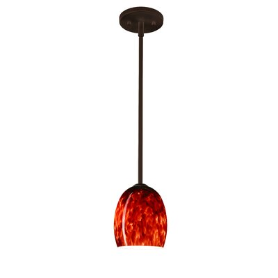 Lucia 1-Light Pendant Finish: Bronze, Glass Shade: Garnet, Bulb Type: Incandescent