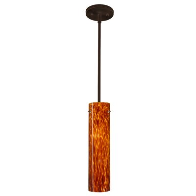 Stilo 1-Light Mini Pendant Finish: Bronze, Glass Shade: Amber Cloud, Bulb Type: LED