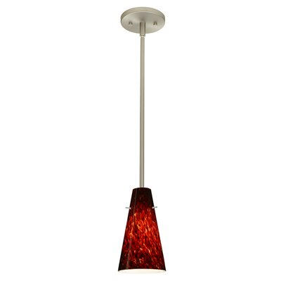 Cierro 1-Light Pendant Finish: Satin Nickel, Glass Shade: Garnet, Bulb Type: Incandescent