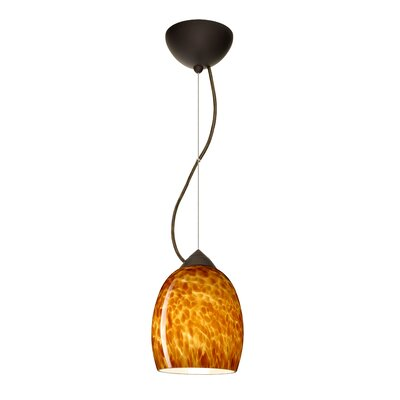 Lucia 1-Light Mini Pendant Finish: Bronze, Bulb Type: LED, Shade Color: Amber Cloud