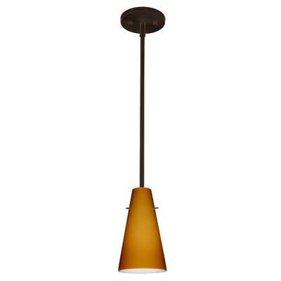Cierro 1-Light Pendant Finish: Bronze, Glass Shade: Amber Matte, Bulb Type: LED