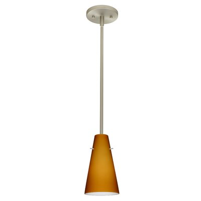 Cierro 1-Light Pendant Finish: Satin Nickel, Glass Shade: Amber Matte, Bulb Type: Incandescent