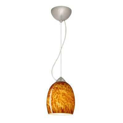 Lucia 1-Light Mini Pendant Finish: Satin Nickel, Shade Color: Amber Cloud, Bulb Type: Incandescent