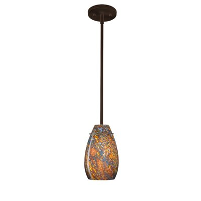 Pera 1-Light Pendant Finish: Bronze, Glass Shade: Ceylon, Bulb Type: Incandescent
