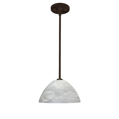 Porto 1-Light Pendant Finish: Bronze, Glass Shade: Marble, Bulb Type: LED