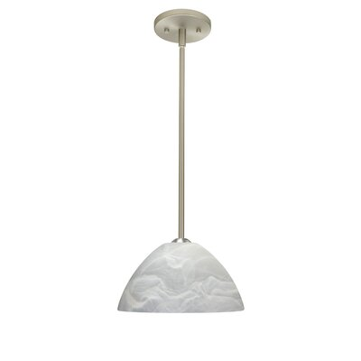 Porto 1-Light Pendant Finish: Satin Nickel, Glass Shade: Marble, Bulb Type: Incandescent