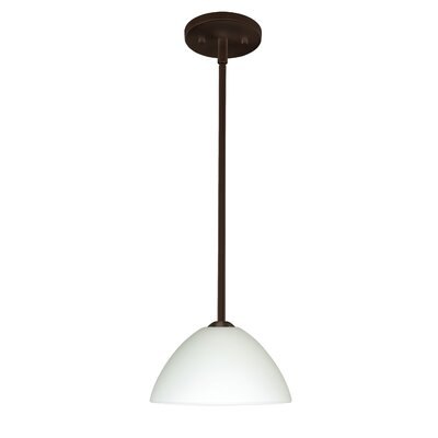 Tessa 1-Light Mini Pendant Finish: Bronze, Glass Shade: White, Bulb Type: LED