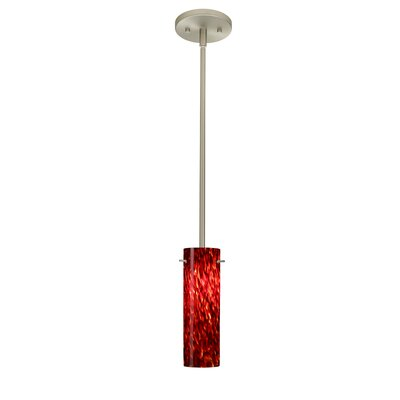 Copa 1-Light Mini Pendant Bulb Type: LED, Finish: Satin Nickel, Shade Color: Garnet