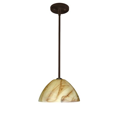 Porto 1-Light Pendant Finish: Bronze, Glass Shade: Mocha, Bulb Type: LED