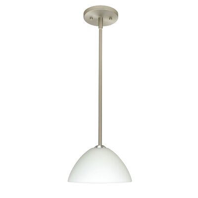 Tessa 1-Light Mini Pendant Finish: Satin Nickel, Glass Shade: White, Bulb Type: Incandescent