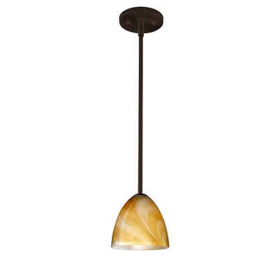 Vila 1-Light Pendant Finish: Bronze, Glass Shade: Honey, Bulb Type: LED