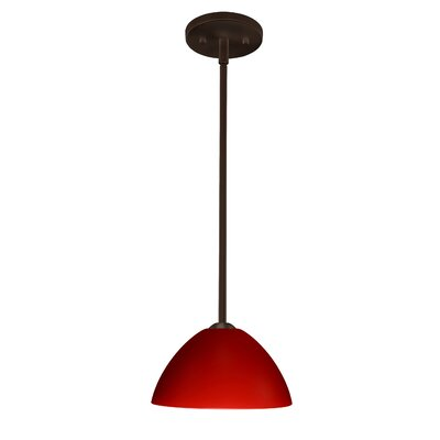 Tessa 1-Light Mini Pendant Finish: Bronze, Glass Shade: Red Matte, Bulb Type: LED