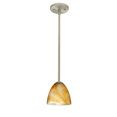 Vila 1-Light Pendant Finish: Satin Nickel, Glass Shade: Honey, Bulb Type: Incandescent