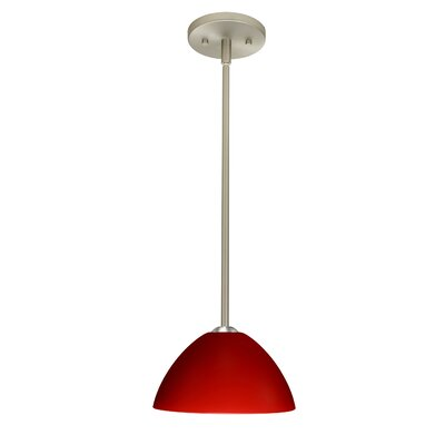 Tessa 1-Light Mini Pendant Finish: Satin Nickel, Glass Shade: Red Matte, Bulb Type: LED