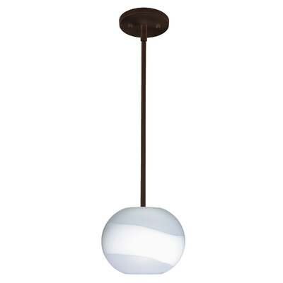 Luna 1-Light Pendant Finish: Bronze, Glass Shade: Opal Frost, Bulb Type: Incandescent