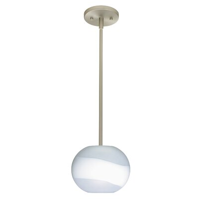 Furniture-Luna 1 Light Pendant Finish Satin Nickel, Glass Shade Opal Frost, Bulb Type LED