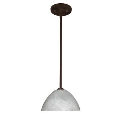 Tessa 1-Light Mini Pendant Finish: Bronze, Glass Shade: Marble, Bulb Type: LED