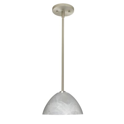 Tessa 1-Light Mini Pendant Finish: Satin Nickel, Glass Shade: Marble, Bulb Type: LED
