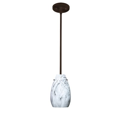 Pera 1-Light Pendant Finish: Bronze, Glass Shade: Marble Grigio, Bulb Type: Incandescent