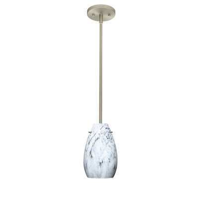Pera 1-Light Pendant Finish: Satin Nickel, Glass Shade: Marble Grigio, Bulb Type: LED