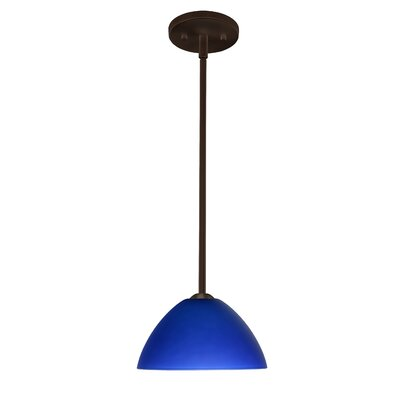 Tessa 1-Light Mini Pendant Finish: Bronze, Glass Shade: Blue Matte, Bulb Type: LED
