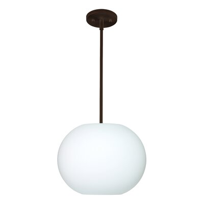 Jordo 1-Light Globe Pendant Finish: Bronze, Glass Shade: Opal Matte, Bulb Type: LED