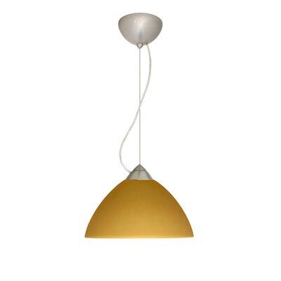 Tessa 1-Light Mini Pendant Finish: Satin Nickel, Bulb Type: LED, Shade Color: Amber Matte