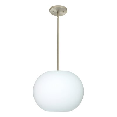 Jordo 1-Light Globe Pendant Finish: Satin Nickel, Glass Shade: Opal Matte, Bulb Type: LED
