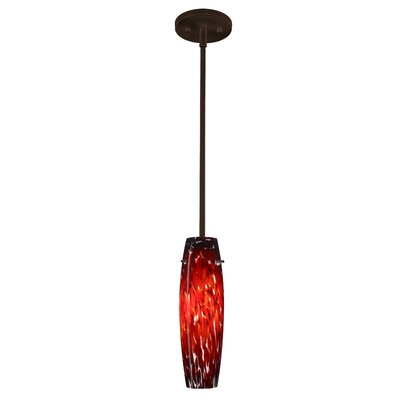 Suzi 1-Light Mini Pendant Finish: Bronze, Glass Shade: Garnet, Bulb Type: Incandescent