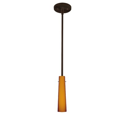 Camino 1-Light Mini Pendant Finish: Bronze, Shade Color: Amber Matte