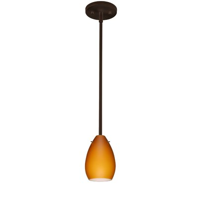 Pera 1-Light Mini Pendant Finish: Bronze, Shade Color: Amber Matte