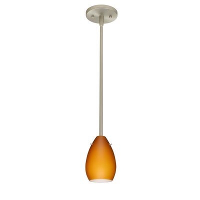 Pera 1-Light Mini Pendant Finish: Satin Nickel, Shade Color: Amber Matte