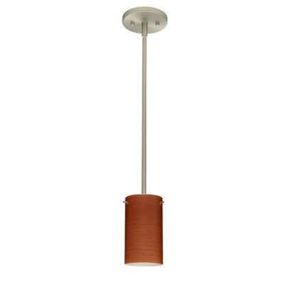 Stilo 1-Light Mini Pendant Bulb Type: LED, Finish: Satin Nickel, Shade Color: Cherry