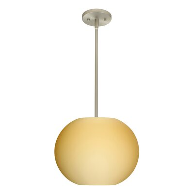 Jordo 1-Light Globe Pendant Finish: Satin Nickel, Glass Shade: Opal Matte, Bulb Type: Incandescent