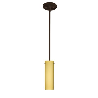 Copa 1-Light Mini Pendant Finish: Bronze, Bulb Type: LED, Shade Color: Amber Matte