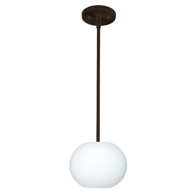 Luna 1-Light Pendant Finish: Satin Nickel, Glass Shade: Opal Frost, Bulb Type: Incandescent