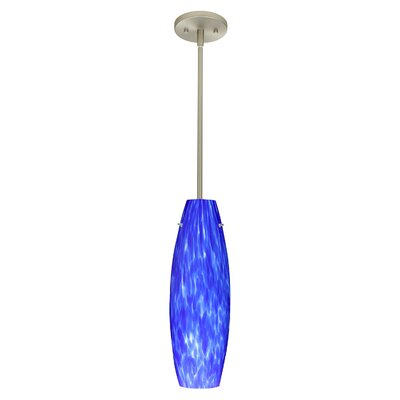 Tara 1-Light Pendant Finish: Satin Nickel, Glass Shade: Blue Cloud, Bulb Type: LED