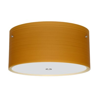 Tamburo 3-Light Flush Mount Size / Shade Color: 8.125 / Oak, Finish: Satin Nickel