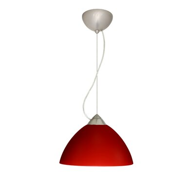Tessa 1-Light Mini Pendant Finish: Satin Nickel, Bulb Type: Incandescent, Shade Color: Red Matte