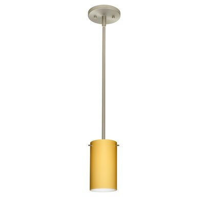 Stilo 1 Light Mini Pendant Shade Color: Vanilla Matte, Bulb Type: Incandescent, Finish: Satin Nickel