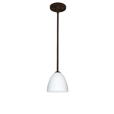 Vila 1-Light Pendant Finish: Bronze, Glass Shade: Opal Matte, Bulb Type: LED