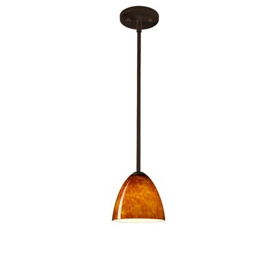 Vila 1-Light Pendant Finish: Bronze, Glass Shade: Amber Cloud, Bulb Type: LED
