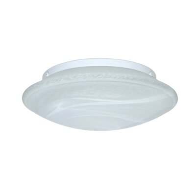 Aluminum Flush Mount Size: 4.25 H x 12.5 W x 12.5 D, Glass Shade: Marble