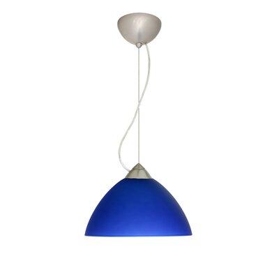 Tessa 1-Light Mini Pendant Finish: Satin Nickel, Bulb Type: Incandescent, Shade Color: Blue Matte