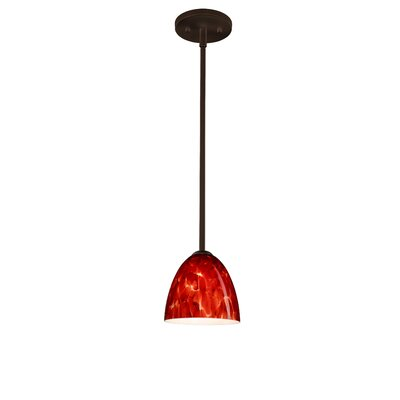 Vila 1-Light Pendant Finish: Bronze, Glass Shade: Garnet, Bulb Type: Incandescent