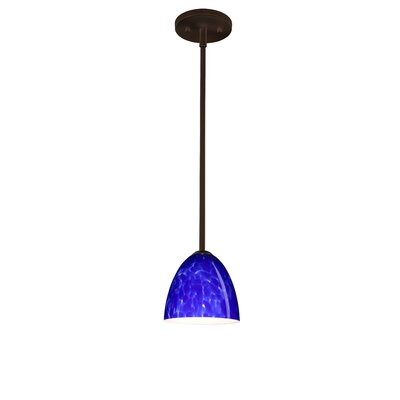 Vila 1-Light Pendant Finish: Bronze, Glass Shade: Blue Cloud, Bulb Type: Incandescent