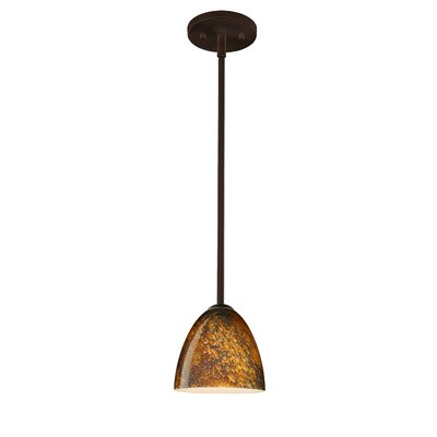 Vila 1-Light Pendant Finish: Bronze, Glass Shade: Gold Foil, Bulb Type: LED
