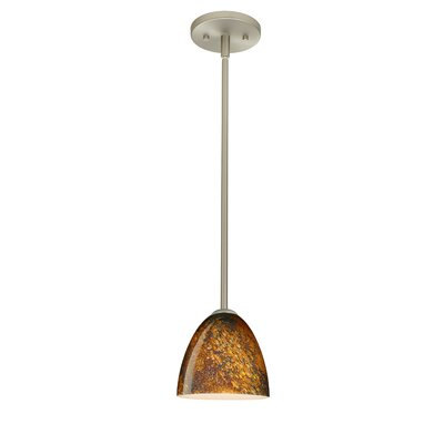 Vila 1-Light Pendant Finish: Satin Nickel, Glass Shade: Ceylon, Bulb Type: Incandescent