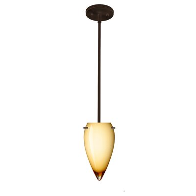 Juli 1-Light Pendant Finish: Bronze, Glass Shade: Amber Cloud, Bulb Type: Incandescent