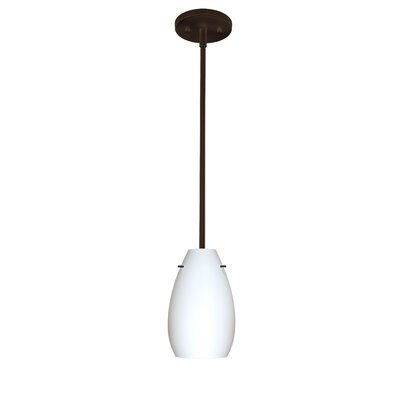 Pera 1-Light Pendant Finish: Bronze, Glass Shade: Opal Matte, Bulb Type: Incandescent
